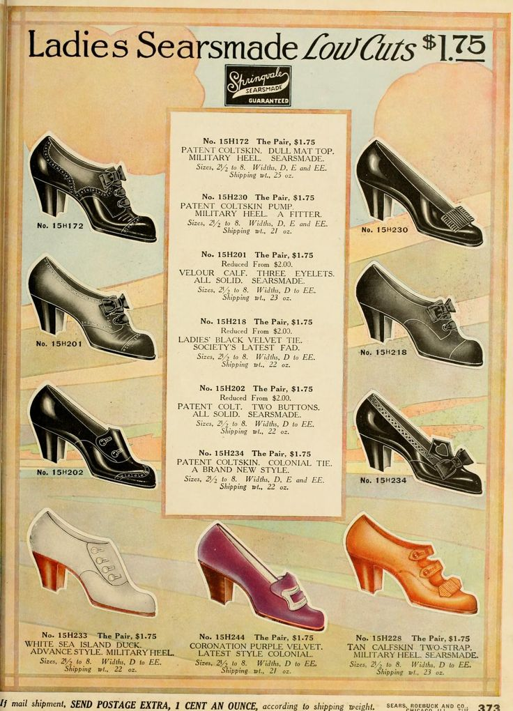 Low Cut High Heel Shoes from 1912 Sears catalog. | Early ...