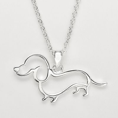 Dachshund or doxie necklace captures the adorable doxie silhouette outline silver tone lobster claw clasp