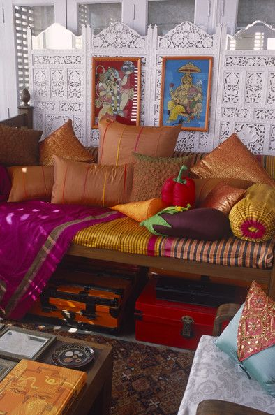 Moroccan Living Room-- with veggie pillows!