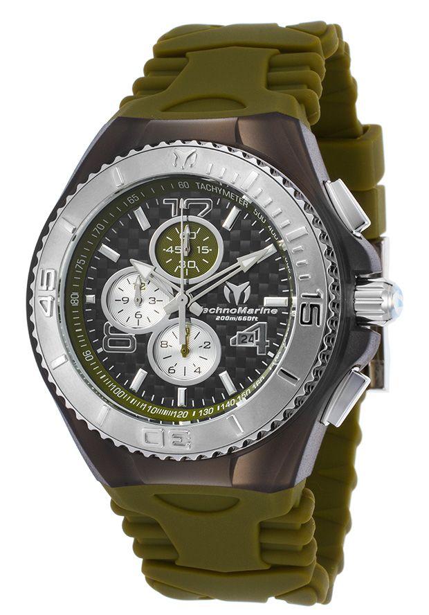 TechnoMarine TM-115298 Watches,Men's Cruise JellyFish Chronograph Olive Green Silicone Black Dial, Sport TechnoMarine Quartz Watches