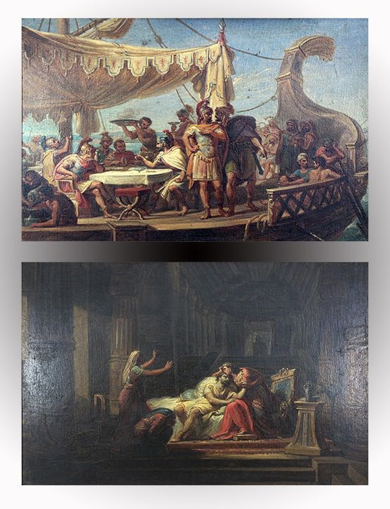 Antoine et Cléopâtre - Pair of oil paintings - P. Gagliardi XIXth century - ON SALE - EN VENTE -