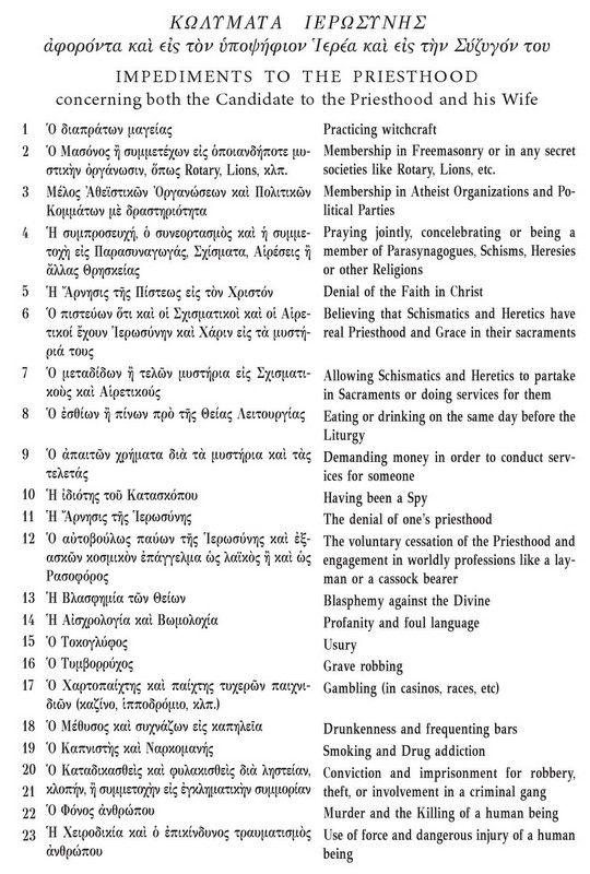 xristianorthodoxipisti.blogspot.gr: IMPEDIMENTS  TO THE PRIESTHOOD. ΚΩΛΥΜΑΤΑ ΙΕΡΩΣΥΝΗΣ...