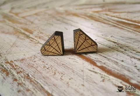 Wooden diamond studs