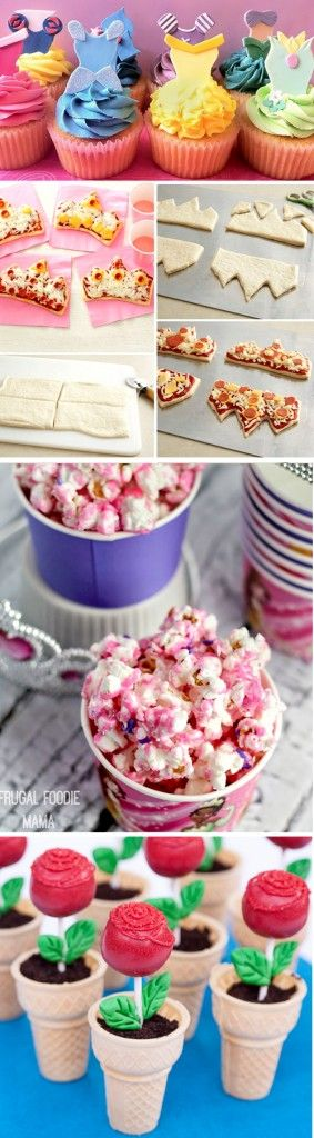 Disney princess party food ideas!  Includes princess cupcakes, tiara pizzas, princess popcorn, and more!  Great for a party incorporating ALL of the Disney princesses including Snow White, Cinderella, Sleeping Beauty, Rapunzel, Little Mermaid, etc...