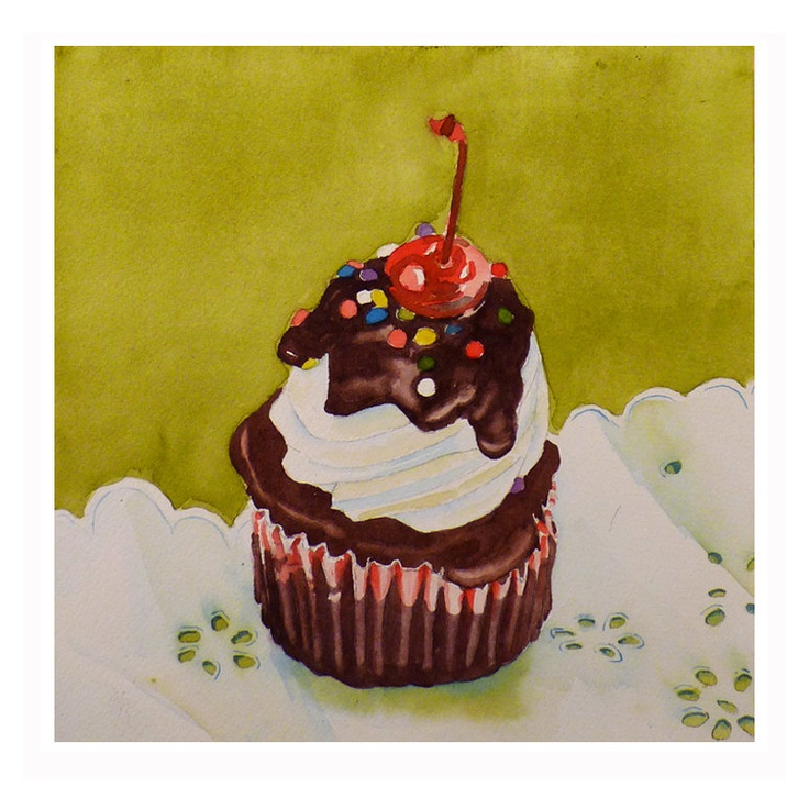 Cupcake Art Dessert Original Watercolor Food Olive Green Lace Doily Brown Cherry Chocolate Apartment Dorm Frosting Sprinkles Priced Under 50. $49.90, via Etsy.