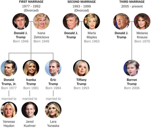 特朗普家族的家庭关系图。