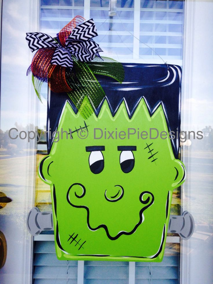 Frankenstein Door Hanger, In stock, Halloween Door Hanger, Fall Door Hanger, Monster Door Hanger, Frankie Door Hanger, Fall Door Sign by dixiepiedesigns on Etsy