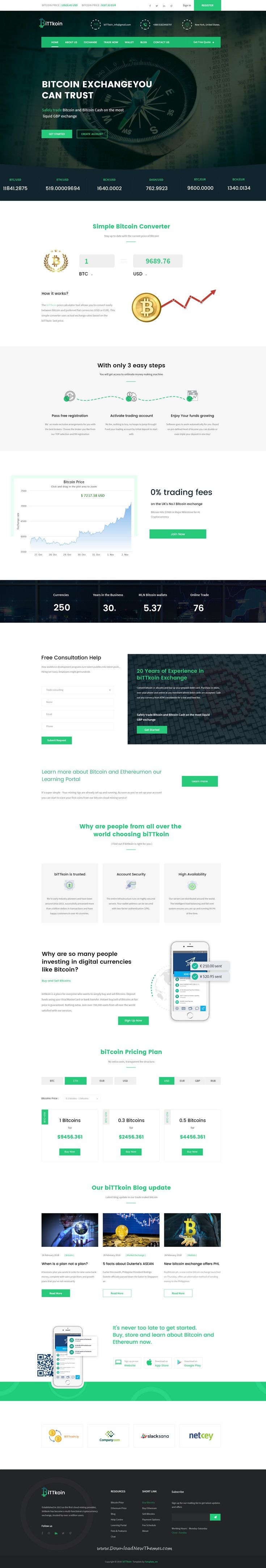 biTTkoin is clean and modern design PSD template for digital currency, #cryptocurrency, share market or consulting firms website with 3 homepage layouts and 17 layered PSD pages to live preview & download click on Visit  #bitcoin #psdmockups