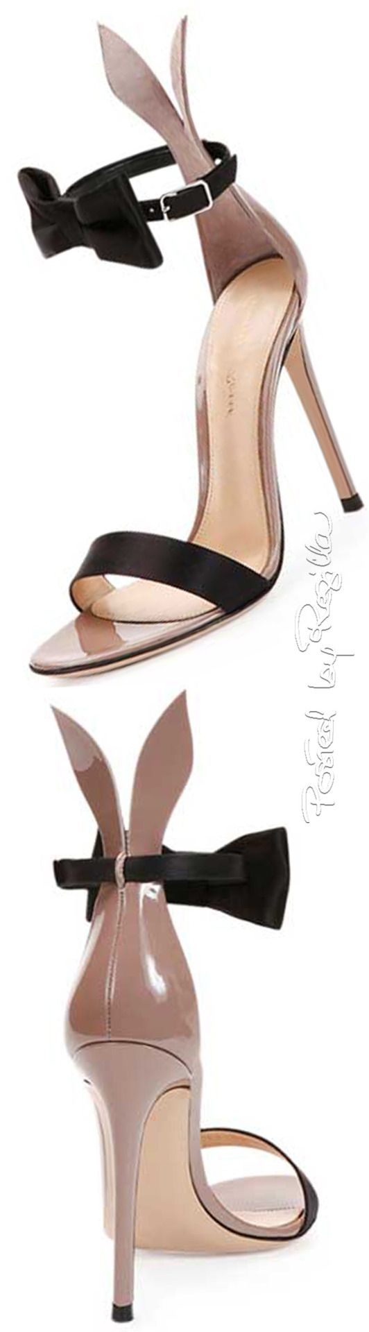 Gianvito Rossi ~ Bow Tie Ankle-Strap Bunny Sandals, Black/Rose 2015