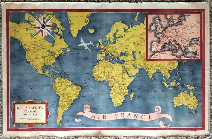 original travel poster air france world map 1948 planisphere postal network vintage vintage. Black Bedroom Furniture Sets. Home Design Ideas