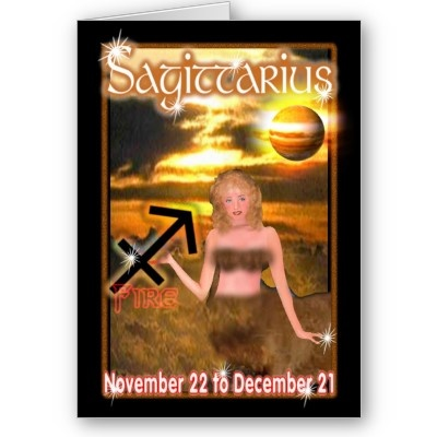 """SAGITTARIUS   DATE - November 22 - December 21  SYMBOL - Archer  ELEMENT - Fire  PLANET - Jupiter  HOUSE - 9th  CHARACTER - student of philosophy or higher studies, honest, sense  . Keep in touch with Valxart Zodiac greeting cards. Customize all parts of this folded card – inside and out, front and back – for free! 5"""" x 7"""" (portrait) . Printed on ultra-heavyweight (120 lb.) card stock gloss finish. Each card comes with white envelope. No minimum order. Available on Note Card ."""