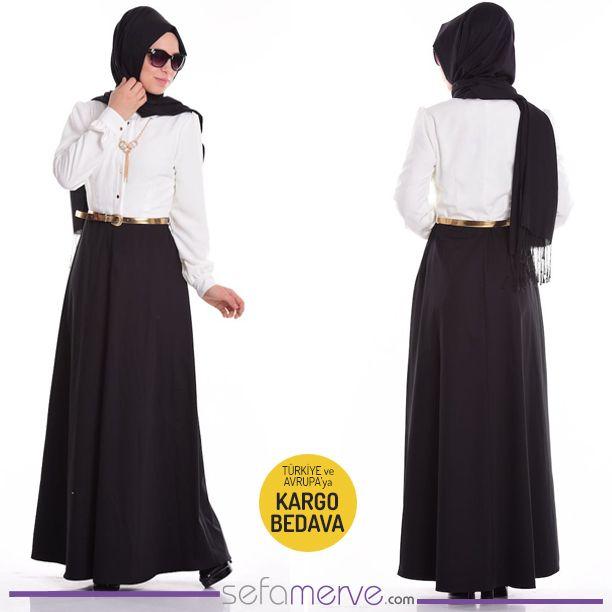 Krep Elbise 52454-01 Siyah #sefamerve #tesetturgiyim #tesettur #hijab #tesettür