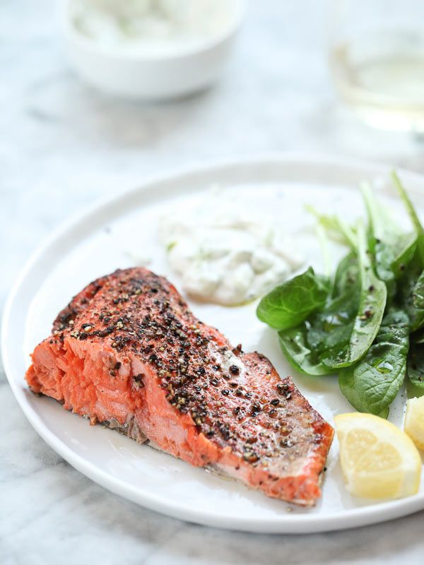 Grilled Salmon with Cucumber Dill Sauce | foodiecrush.com