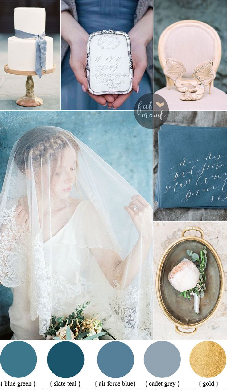 Vintage style wedding in shades of blue wedding motif | fabmood.com