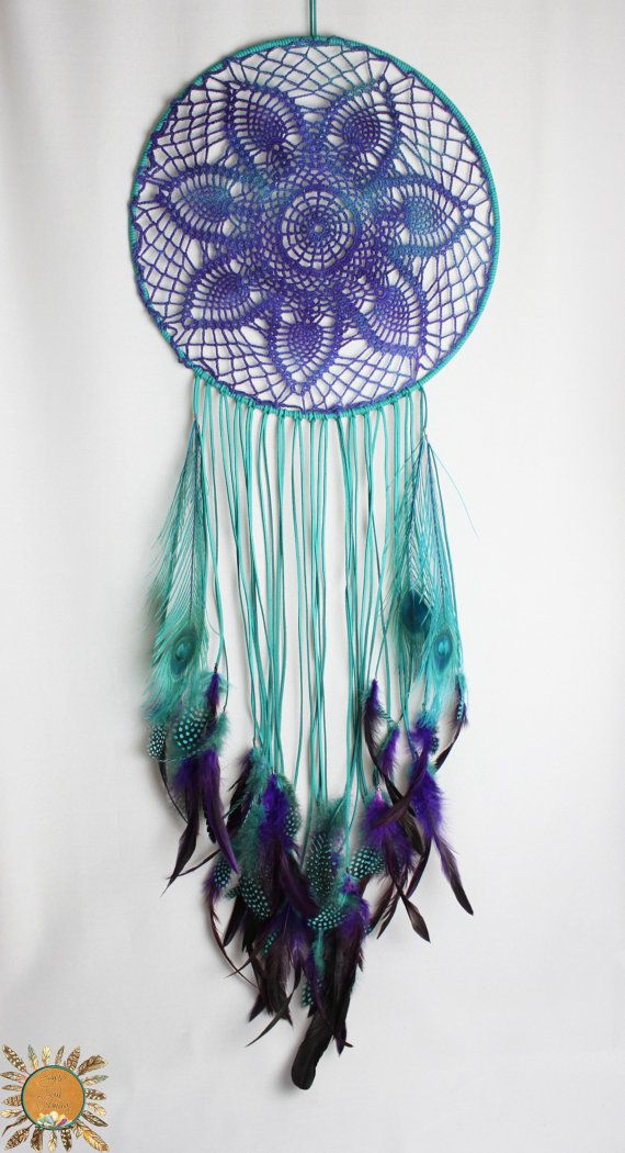 Large Turquoise and Purple Dream Catcher with a Vintage Crochet Doily and Peacock Feathers