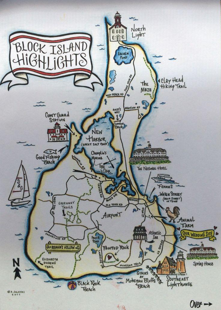 Illustrated Map of Block Island Rhode Island