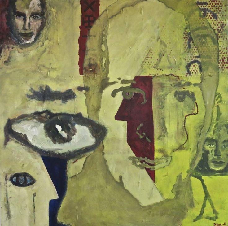 Godbye. Birgit Ravn Søndergaard. Acrylics and collage on canvas