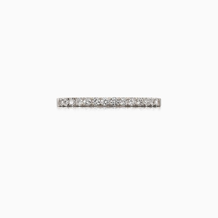Narrow Crown Half Eternity Diamond Band in Platinum