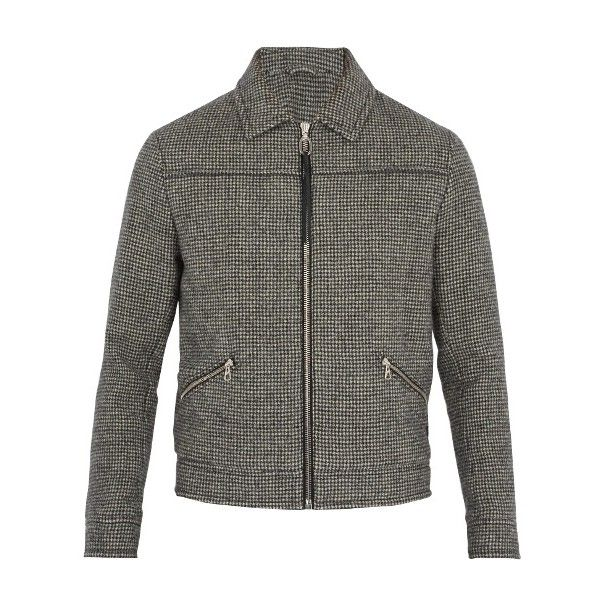 Lanvin Hound's-tooth wool bomber jacket (32,750 MXN) ❤ liked on Polyvore featuring men's fashion, men's clothing, men's outerwear, men's jackets, black white, mens wool jacket, mens zipper jacket, men's wool bomber jacket, mens wool zip jacket and mens wool blazer jacket
