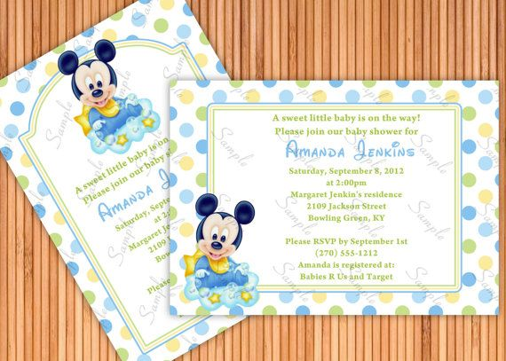 9 best baby shower images on pinterest | baby shower boys, mickey, Baby shower invitations