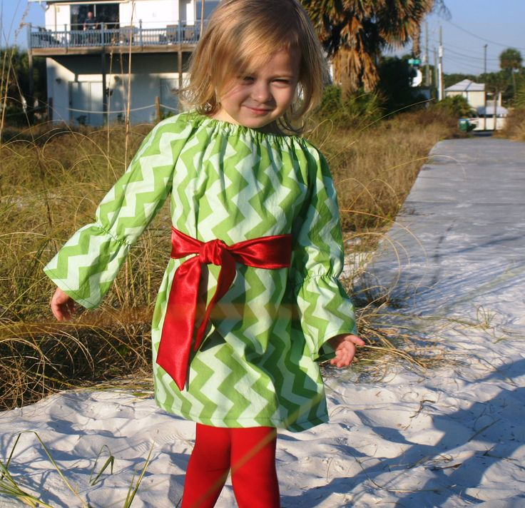Girls Green Chevron Dress Baby Christmas Outfit by SewChristi, $45.00