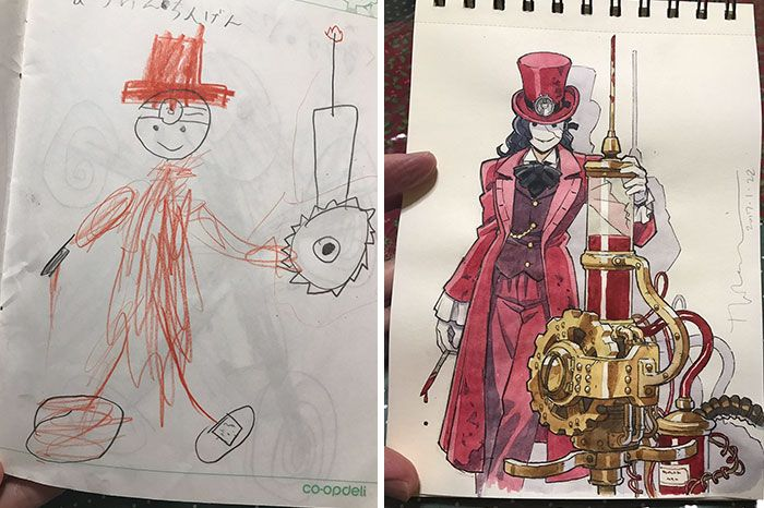 Thomas Romain is a French artist who lives in Tokyo. He's worked on various anime series such as Symphogear, Space Dandy, Aria, and Basquash!, but his best work is the work he does in the Father and Sons Design Workshop. That's what he calls a series of tweets that showcases the drawings he does with his kids.