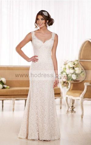Sheath Shoulder Straps Natural Sleeveless Floor-length Wedding Dresses wes0290--Hodress