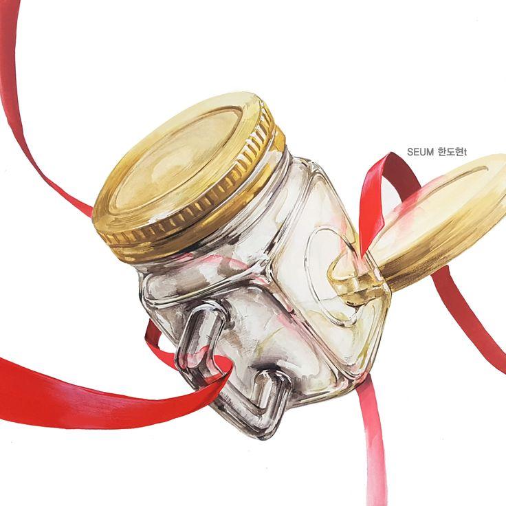 유리병, 빨간리본 기초디자인 #선 #마석 #세움미술학원 #가평 #유리표현