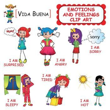 This Emotions and Feelings Clip Art contains the following images in color: - I am angry - I am bored - I am interested - I am thoughtful - I am cold - I am hot - I am full - I am hungry - I am thirsty - I am sad - I am happy - I ma unhappy - I am scared - I am sleepy - I am sorry - I am surprised - I am ill - I am tired