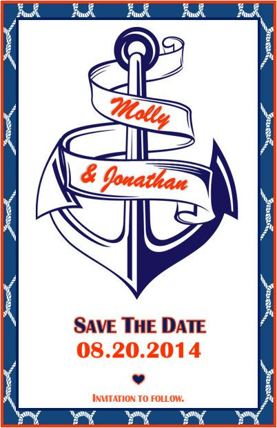 Save The Date Navy & Orange Nautical Anchor Printable Download by AshleyMartinDesigns, $5.00