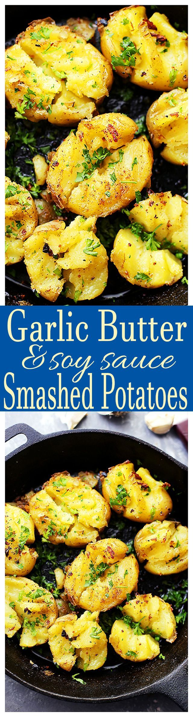 Garlic Butter and Soy Sauce Smashed Potatoes - Flavored with garlic butter and soy sauce, these crazy delicious smashed potatoes are the best side of potatoes you'll ever have! I promise!