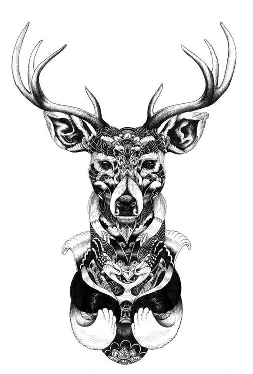 Mandala deer – i think i love deer because they can be as symmetrical as you want them to be