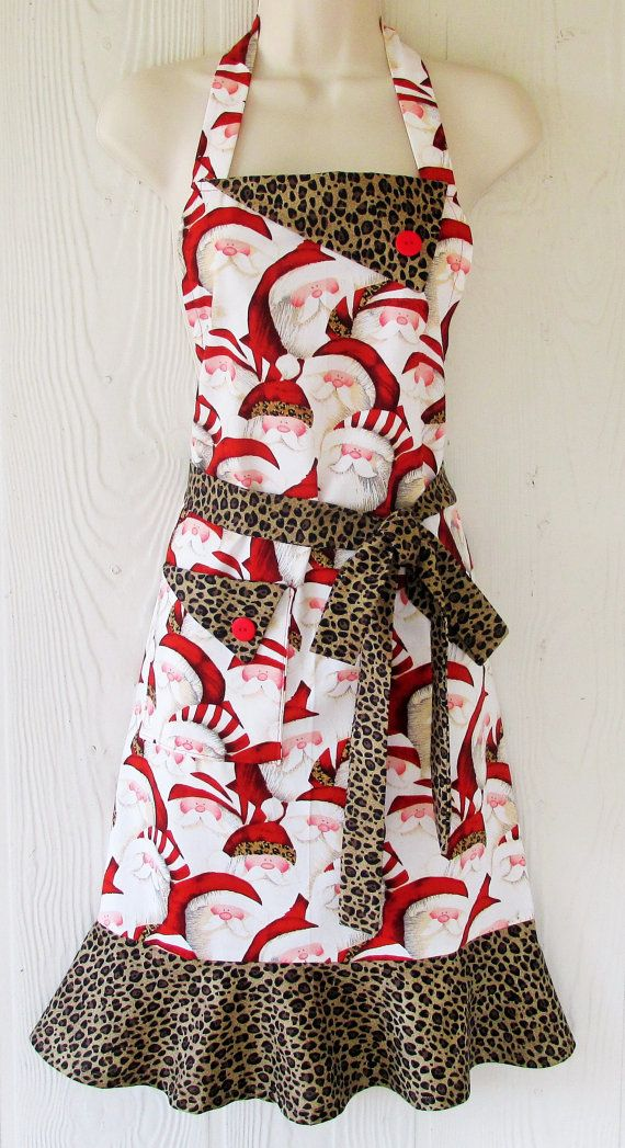 Hey, I found this really awesome Etsy listing at https://www.etsy.com/listing/208431723/christmas-apron-santa-claus-leopard