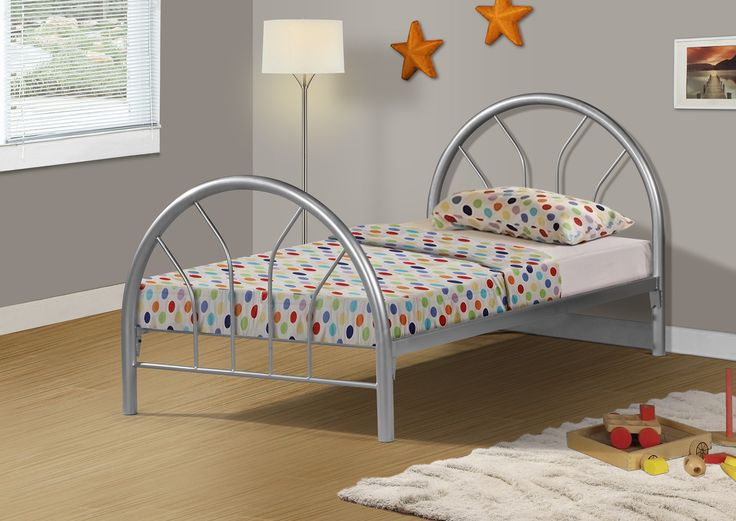 silver metal twin bed frame only