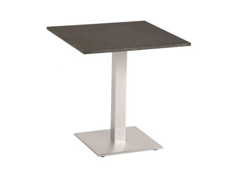 Stern Gartentisch/Bistrotisch Aluminium Edelstahloptik Granit dunkelgrau 70x70 cm