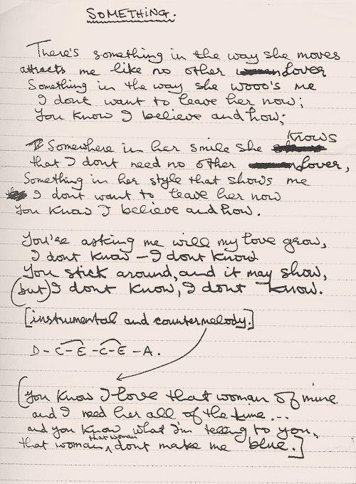 "George Harrison's handwritten lyrics for ""Something"".:"