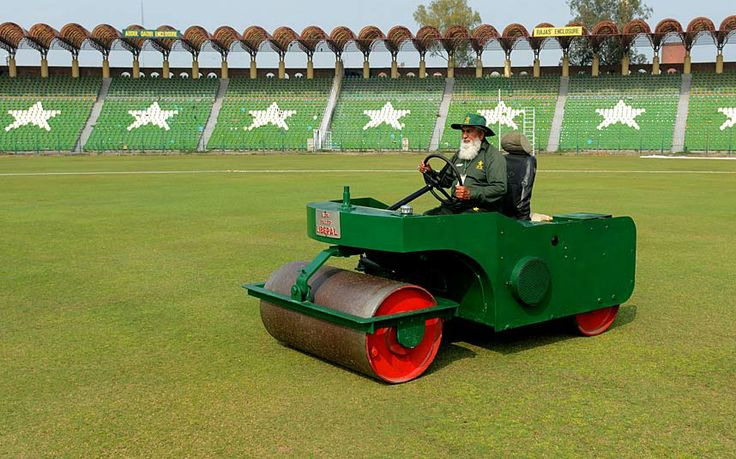 Pakistani Haji Basheer (74) hard at work at the Gaddafi Stadium in Lahore. For more than fifty years, Basheer has prepared the pitch at Lahore's Gaddafi Stadium, bearing witness to some of cricket's biggest moments including two World Cups.