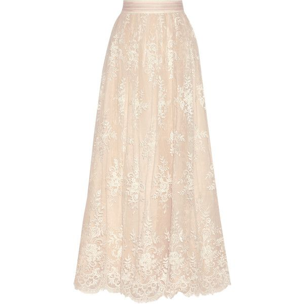 Alice + Olivia Carter embellished lace maxi skirt found on Polyvore featuring polyvore, women's fashion, clothing, skirts, cream, long sequin skirt, sequin maxi skirt, cream maxi skirt, long pink skirt and cream lace skirt