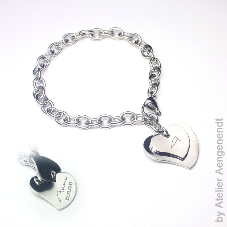 Edelstahl Armband mit Gravur Elementen - Wunschgravur individuelle Gravur  (DH)
