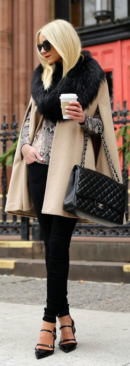 Love how this is put together, but my real fascination is with the fur scarf and handbag!