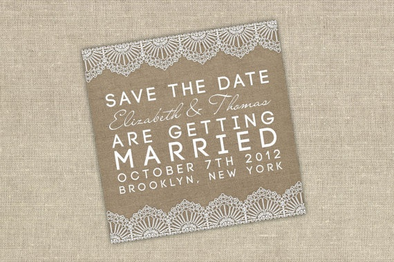 Burlap and lace invitation set by ATLovelyDesigns on Etsy, $7.00