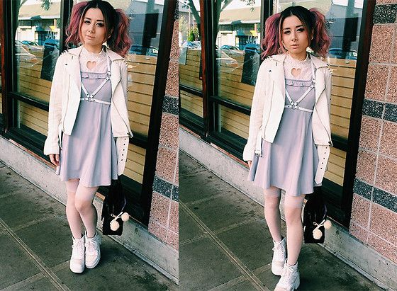 Get this look: http://lb.nu/look/8769537  More looks by Lovely Blasphemy: http://lb.nu/lovelyblasphemy  Items in this look:  Unif Spiked Moto Jacket   White, Vagabond Emma   White, Pawstar Harness   White, Mon Lily  Grey Heart Cutout Dress   #casual #romantic #street #larme #larmekei #motojacket #babydoll #platformsneakers #harness
