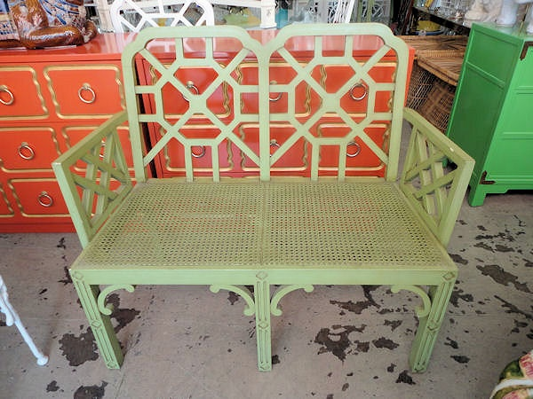 HOLLYWOOD REGENCY Fretwork Settees for the Entry :)