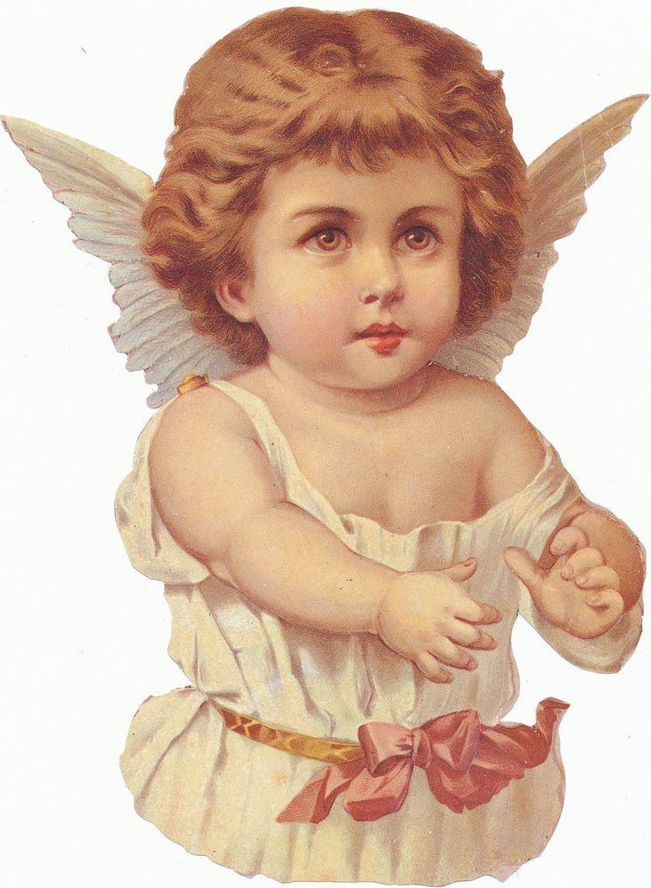 große Oblate Glanzbild Engel 80er Jahre ca 15,5 cm x 9,5 cm
