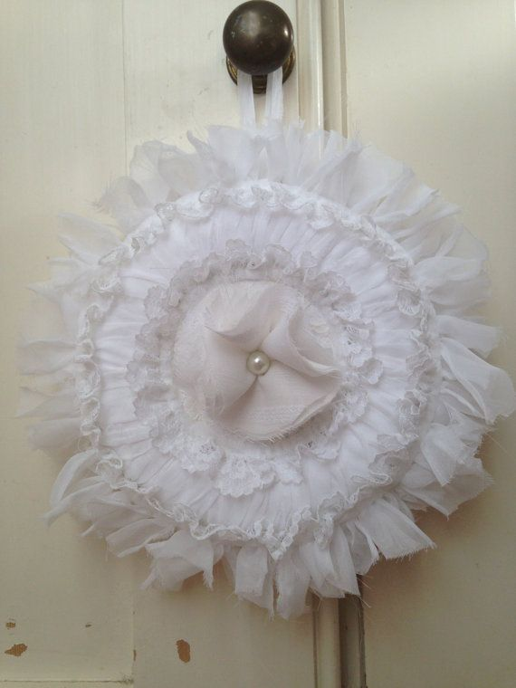 Shabby Chic Romantic White Wreath by EnchantedLaceDecor on Etsy