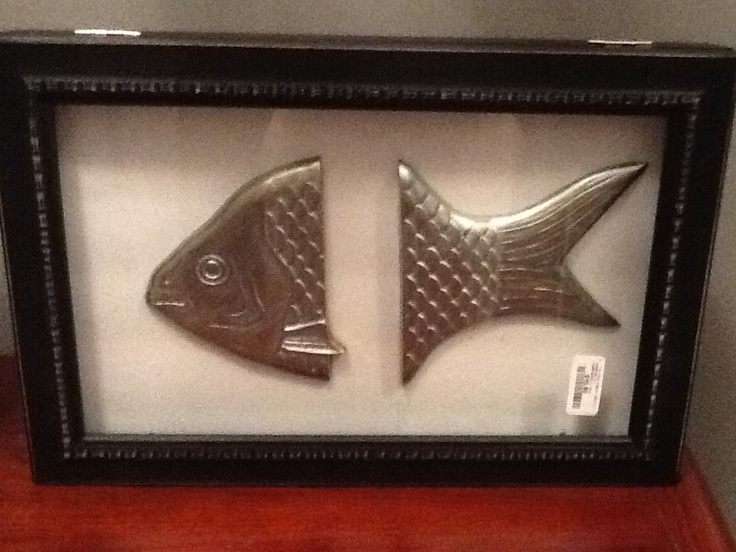 Bronze fish handles from cutting board painted silver in a shadow box frame...oops price tag still on frame!
