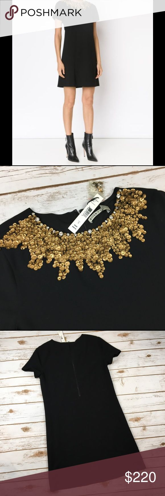 Alice + Olivia Beaded Collar Dress black Shift 6 Alice + Olivia Beaded Collar Dress Gold Sequin Rhinestone Shift Black NWT Sz 6   Absolutely stunning! Black shift dress with gorgeous beaded gold sequin detail at the neck with a smattering of rhinestones throughout.  Dress is new with tags and retailed for $440.  Comes with package of additional sequins and rhinestones.  This dress would be PERFECT for New Years Eve! Tagged size 6 but please see measurements to ensure proper fit.  Measured…