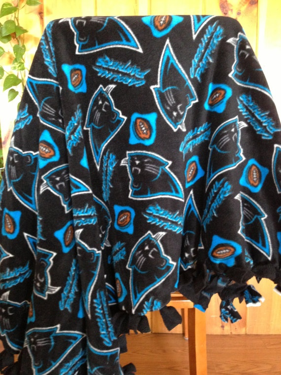 Hand Tied Fleece  NFL Carolina Panthers  by AbbieJude on Etsy, $38.00