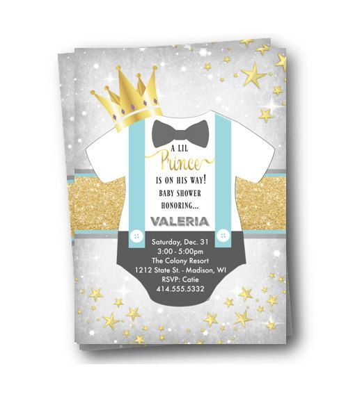 prince baby shower invitation onesie gold and blue by pinkpoproxx