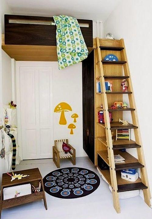 repurposed ladder bookcase storage with kids loft bed